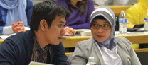 International government representatives in class on WMU's campus
