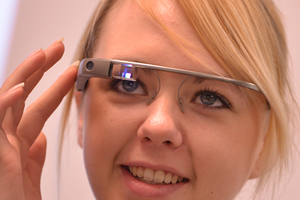 Photo of student wearing google glass