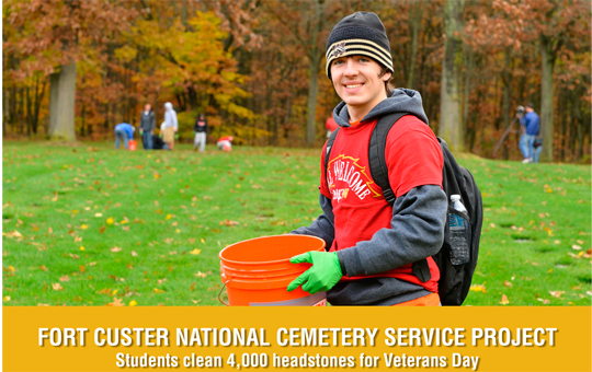 Student working at Fort Custer