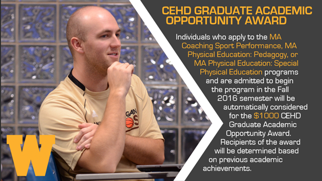 a coach and text describing the CEHD graduate academic opportunity award