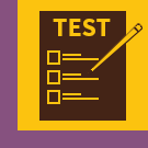 An image of a brown page with the gold letters Test on it and three checkbox options on a gold background with a purple border.