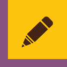 An image of a brown pencil on a gold background with a purple border.