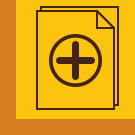An image of a plus sign in a circle on a brown outline of a page on a gold backround with an orange border.
