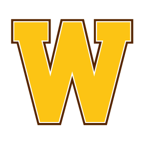 An image of the gold Western Michigan University W.  The W is mainly gold with a thin brown outline.