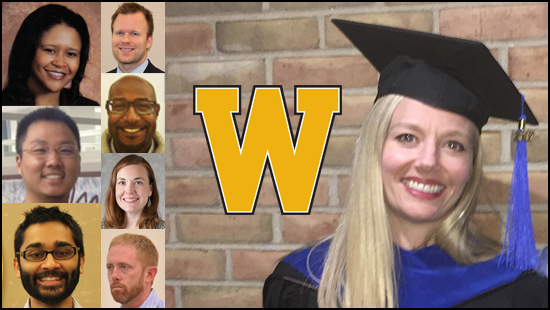 This photo is a collage of several alumni of Western Michigan University.  Featured most promenenently is Lindsay Jeffers, her photo was picked to be the background of the collage because she is wearing her graduation cap and gown.  Lindsay has blond hair and a large smile, we suspect because she just graduated.  In the middle of the photo is a big gold W, which is the brand mark for Western Michigan University.  To the left are the photos of seven other alumni members, a colum of three to the far left includes from top to bottom are Erica Taylor, Tiantian Zhang, and Neil Deochand. To their right, and sort of in the middle are four alumni in a collum, but slightly smaller photos because there are more of them.  They are: Andrew Hale, Justin Moore, Elizabeth MacQuillan, and James Atkinson.  Everyone is smiling except for James Atkinson, because this photo was taken while he was teaching, and he looks rather stern, but he's really a nice guy, it just doesn't show very well in this photo.