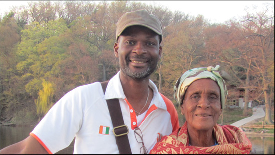 A photo of Dr. Julien Kouamé and his mother Eugenie Adon Brou