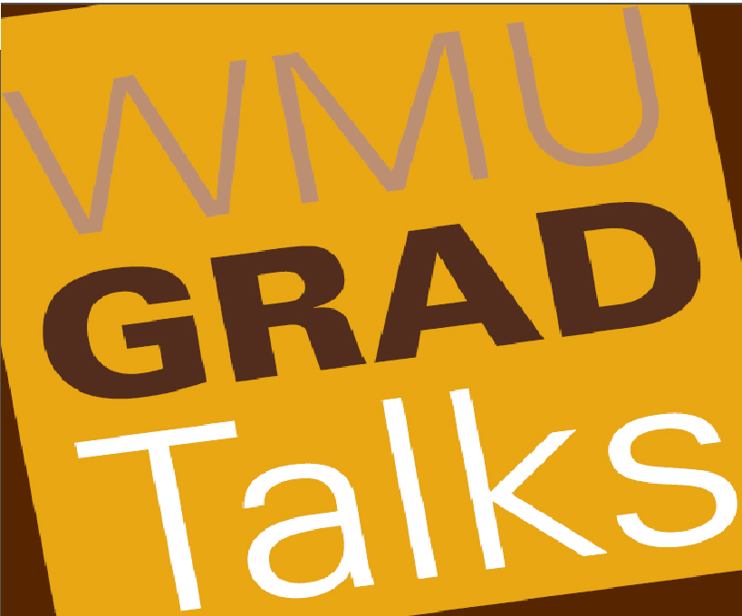 an image of the W M U Grad Talks logo, The background is dark brown with a yellow square, the words are placed evenly on the square with W M U being in light brown, Grad is displayed in dark brown, and Talks is displayed in white text.  These colors are used in the official Western Michigan University color guidelines.