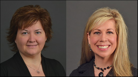 Photos of Angie Phelps and Jodi Ward placed side-by-side.  These are official university photos with a grey background.