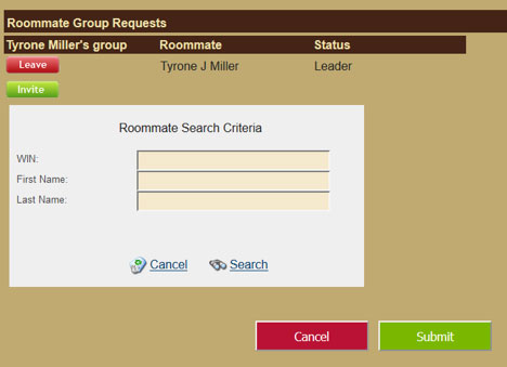 Roommate search criteria dialog box with WIN entered and indicating search and submit buttons.