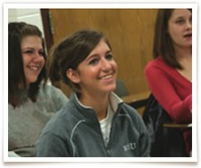 girl smiling in class