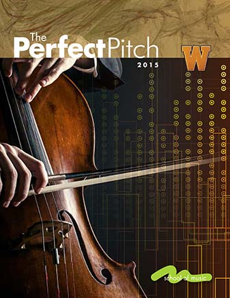 "Cover image of the publication ""Perfect Pitch"". An up close photo of a cello on top of geometric shapes"