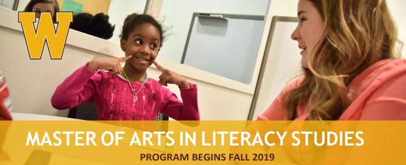 "Student pointing at smile with teacher with text ""Master of Arts in Literacy Studies Program Begins Fall 2019"""