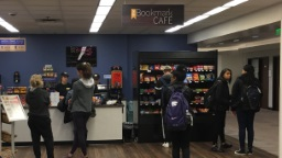Students at the Bookmark Cafe inside Waldo Library.