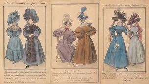Hand painted pages of romantic period dress.
