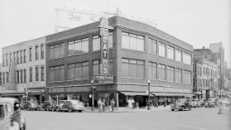 Downtown Kalamazoo stores and streets view from corner of Portage Street and East Michigan Avenue in 1943.