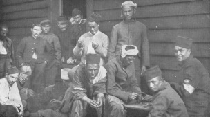 Photo of French prisoners at a German prison camp in 1916.