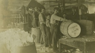 Men working in Kalamazoo Paper Company circa 1906.