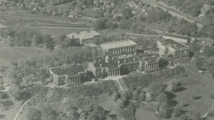Aerial view of Western Michigan University (alternatively Western State Teachers College) from 1934..