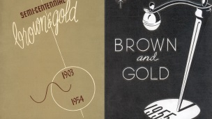 Front covers of Western Michigan University yearbooks in 1954 and 1955.
