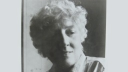 Black and white photo of poet May Sarton.