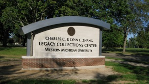 Sign out front of Zhang Legacy Collections Center.