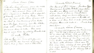 Two pages from a 19th century English cookbook with hand written recipes.