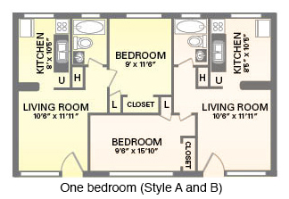 One bedroom floor plan, Elmwood Complex