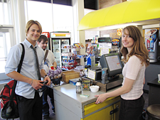 Students paying for food at Plaza café