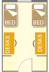 Room layout showing two beds and two desks