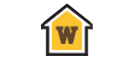 "House shaped graphic with ""W"" in the middle"