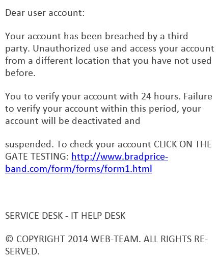 Phishing example.