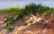 Photo of painting of Sleeping Bear Dunes.