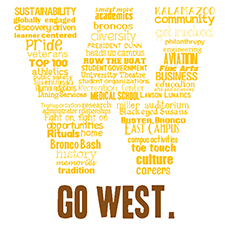 Graphic of T-shirt design featuring a yellow W made up of words and the phrase Go West.