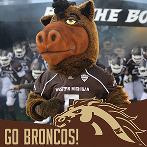 Photo of Buster Bronco with the WMU Facebook team frame.