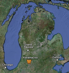 Map of Michigan showing the location of Kalamazoo.