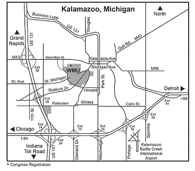 Map showing approaches to Wstern Michigan University.