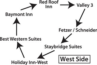 Schematic diagram showing the route of the West Side Hotels Shuttle (Valley 3 to Fetzer/Schneider to Staybridge Suites to Holiday Inn-West to Best Western Suites to Baymont Inn to Red Roof Inn to Valley 3).