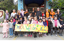 students with a welcome sign