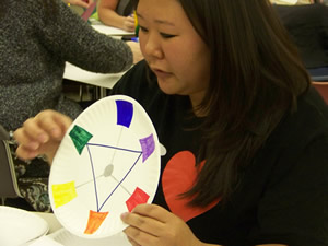 an instructor demostrating a color wheel