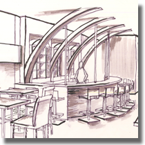 bistro bar interior sketch