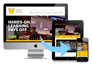 screenshots of the wmu homepage seen on different devices