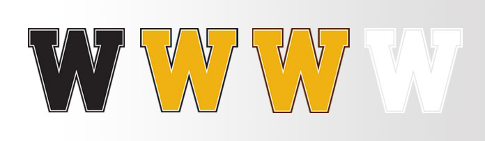 a series of W logos showing black, gold with brown stroke, gold with black stroke and white