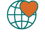 Illustration of globe with heart covering a portion of it.