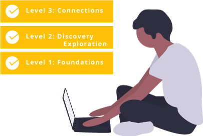 Illustration of student sitting with laptop
