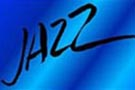 The word jazz on a blue background.