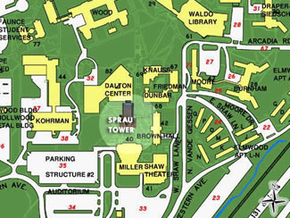 Map of Sprau Tower on campus