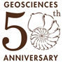 "Logo for the Geosciences anniversary. In the center is a large number 50 with a nautilus as the ""0"". Above the number 50 is the word Geosciences, and below the number 50 is the word Anniversary."
