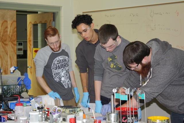 Students working on lab projects
