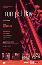 Image of Trumpet Day Poster. A red and black image of a trumpet with pictures of clinicians at the bottom.
