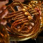 Up close image of a french horn